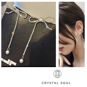 Just In💎Crystal & Pearl Bow Long Earrings Drop